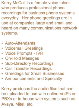 Professional phone recordings voicemail voice prompts auto female voice talent who records business phone greetings m4hsunfo