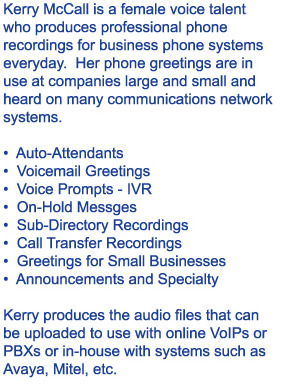 Production Services for Female Voice Phone Recordings